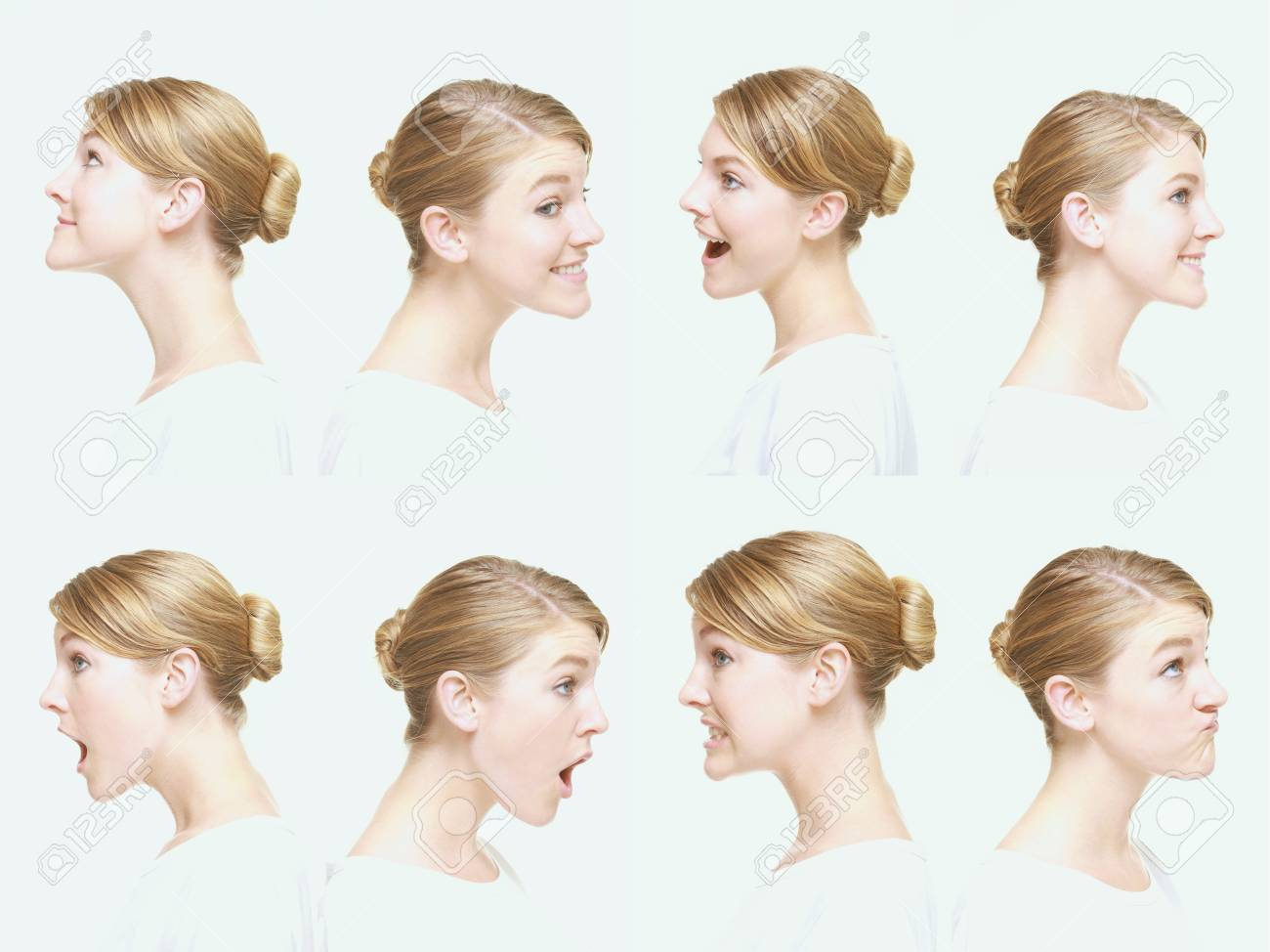 Montage of woman pulling different expressions Stock Photo - 13149249