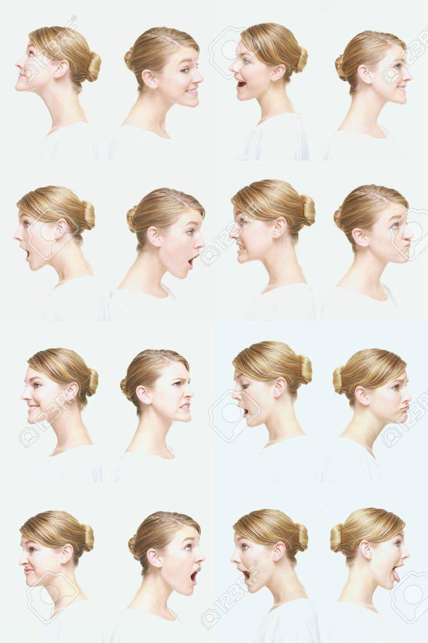 Montage of woman pulling different expressions - 13149255
