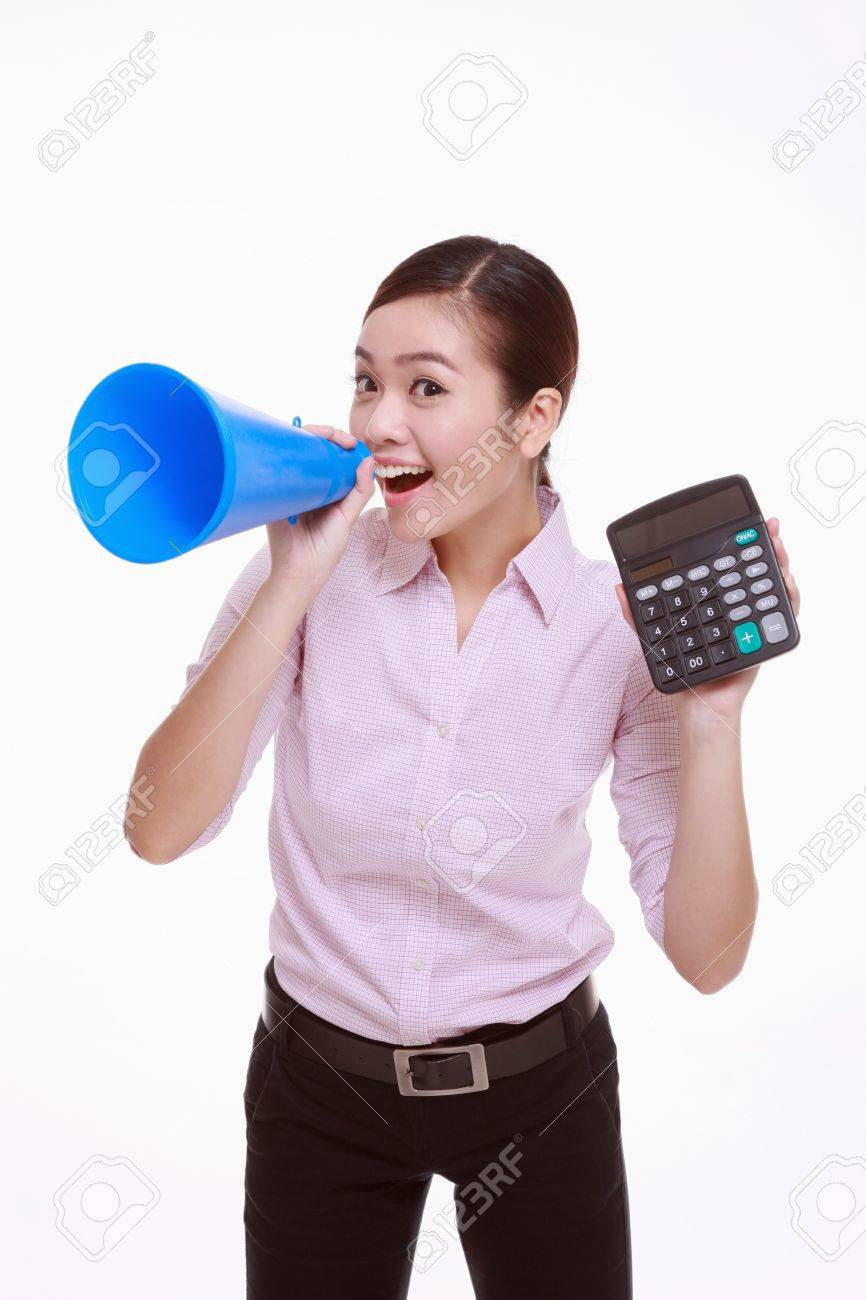 Businesswoman shouting through a megaphone and showing a calculator Stock Photo - 13366664