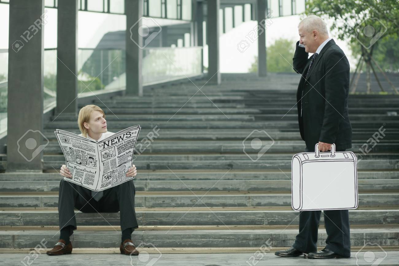 Businessman reading newspaper on the stairs, another businessman carrying briefcase Stock Photo - 13378587