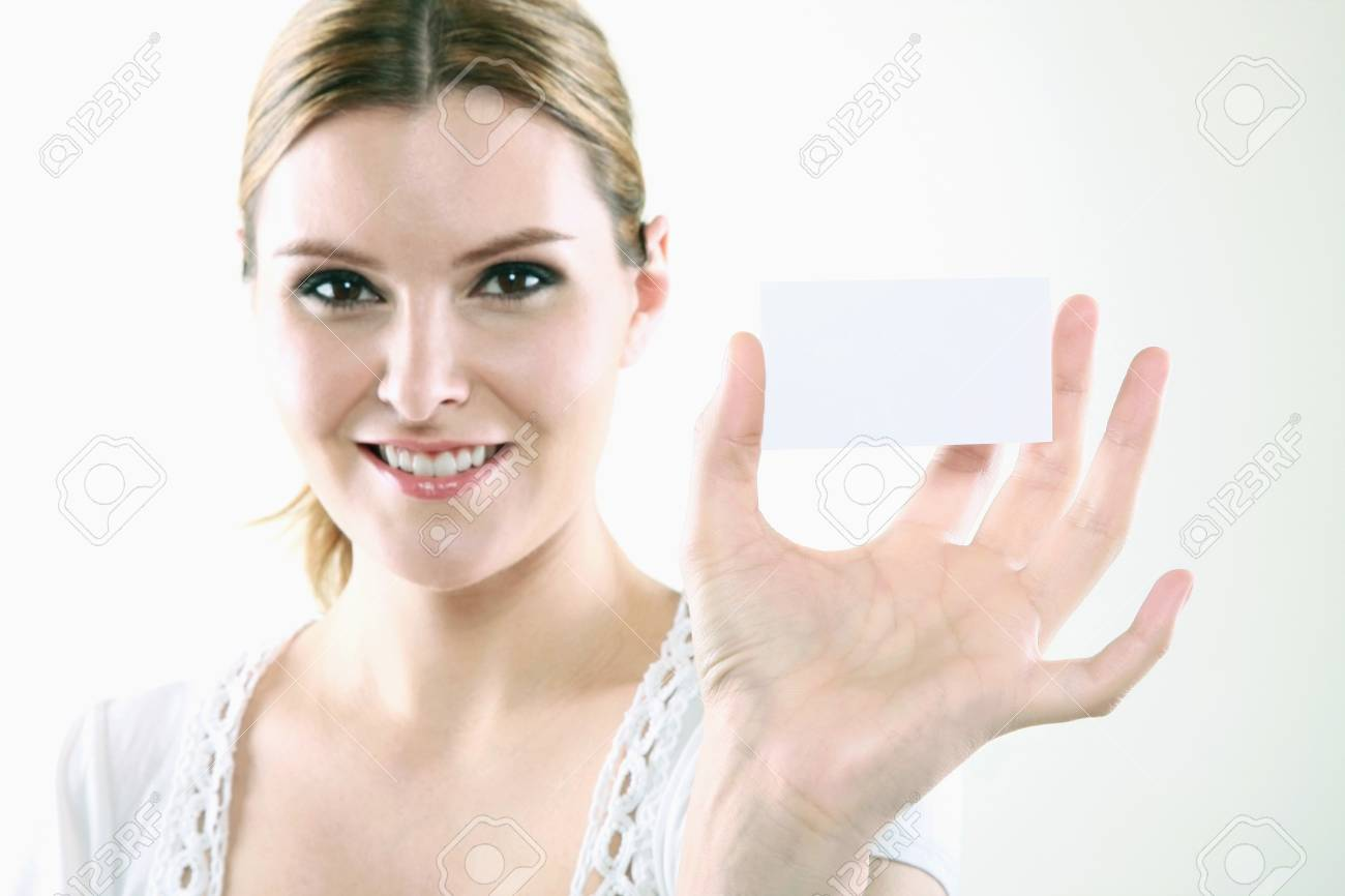 Woman holding business card Stock Photo - 13383990