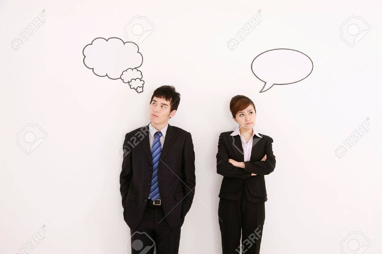 Business people with thought and speech bubble above their heads - 13384013