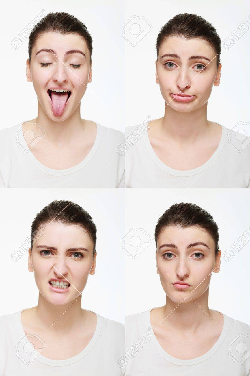 Montage of woman with different facial expression Stock Photo - 14658633