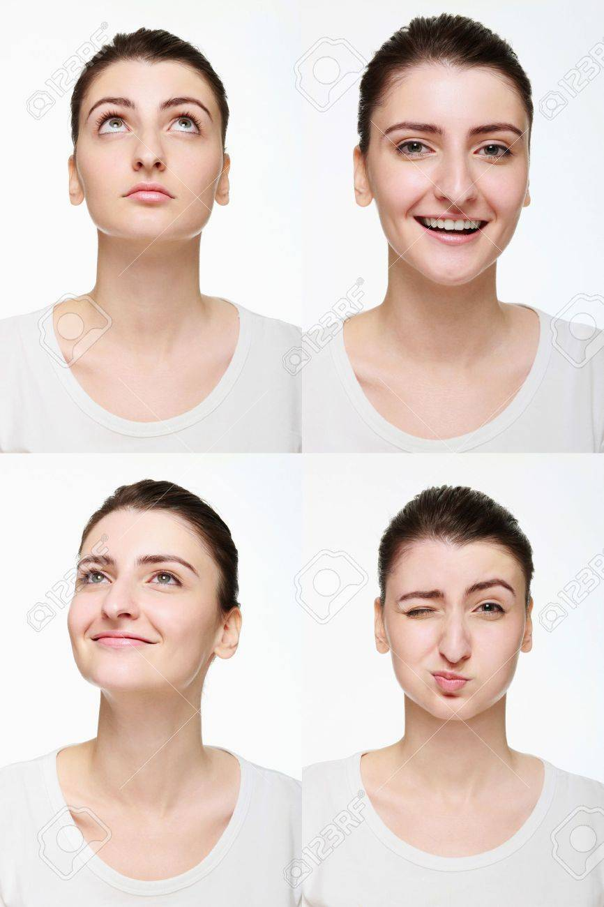 Montage of woman with different facial expression Stock Photo - 14658631