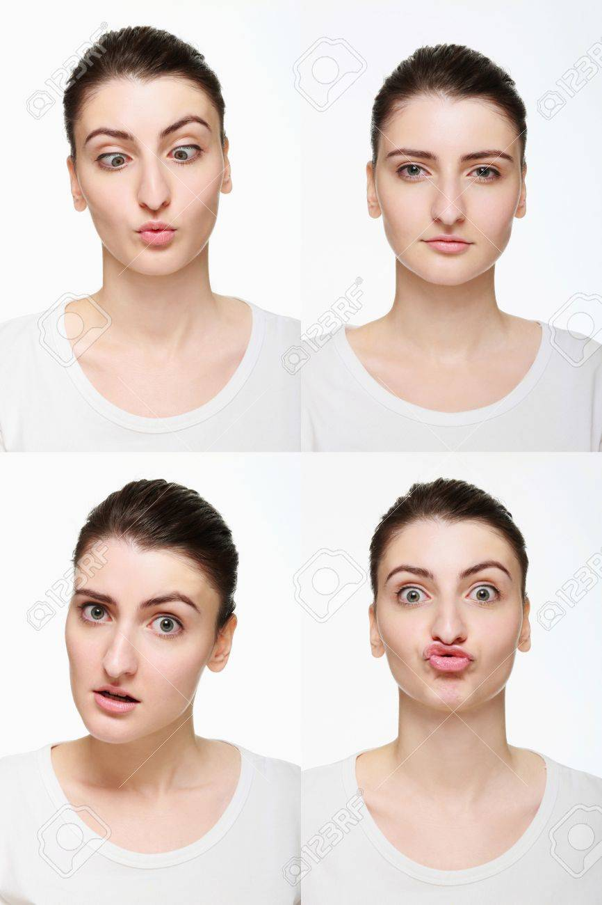 Montage of woman with different facial expression Stock Photo - 14658635