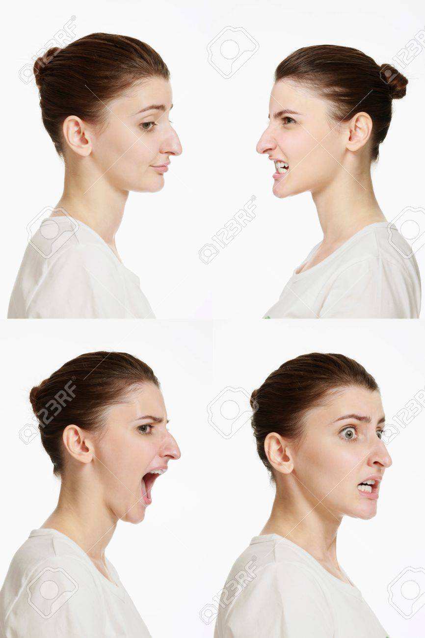 Montage of woman with different facial expression - 14658625