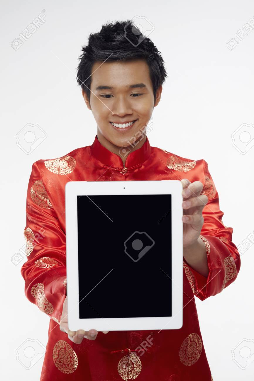 Man holding out digital tablet Stock Photo - 17130017
