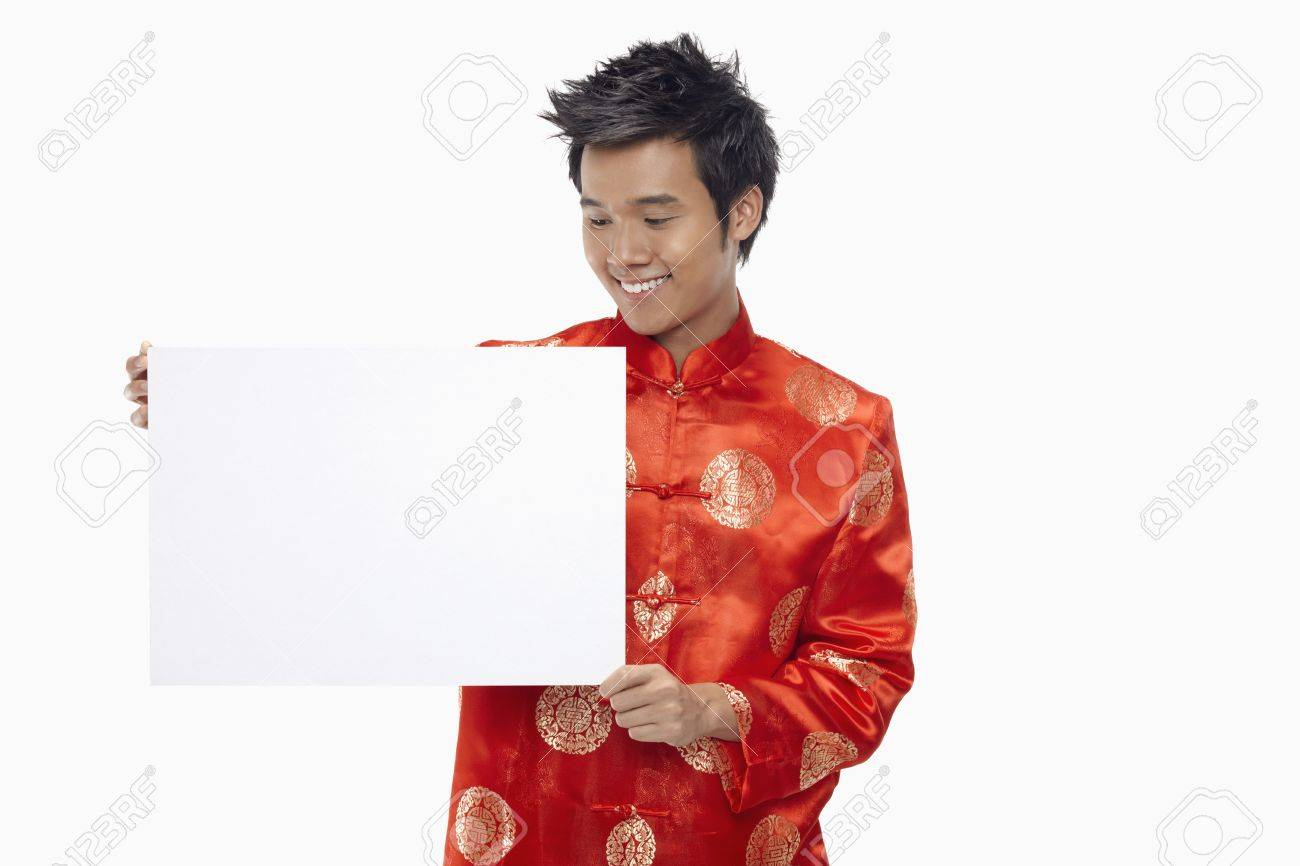 Man holding up a white cardboard Stock Photo - 17130004