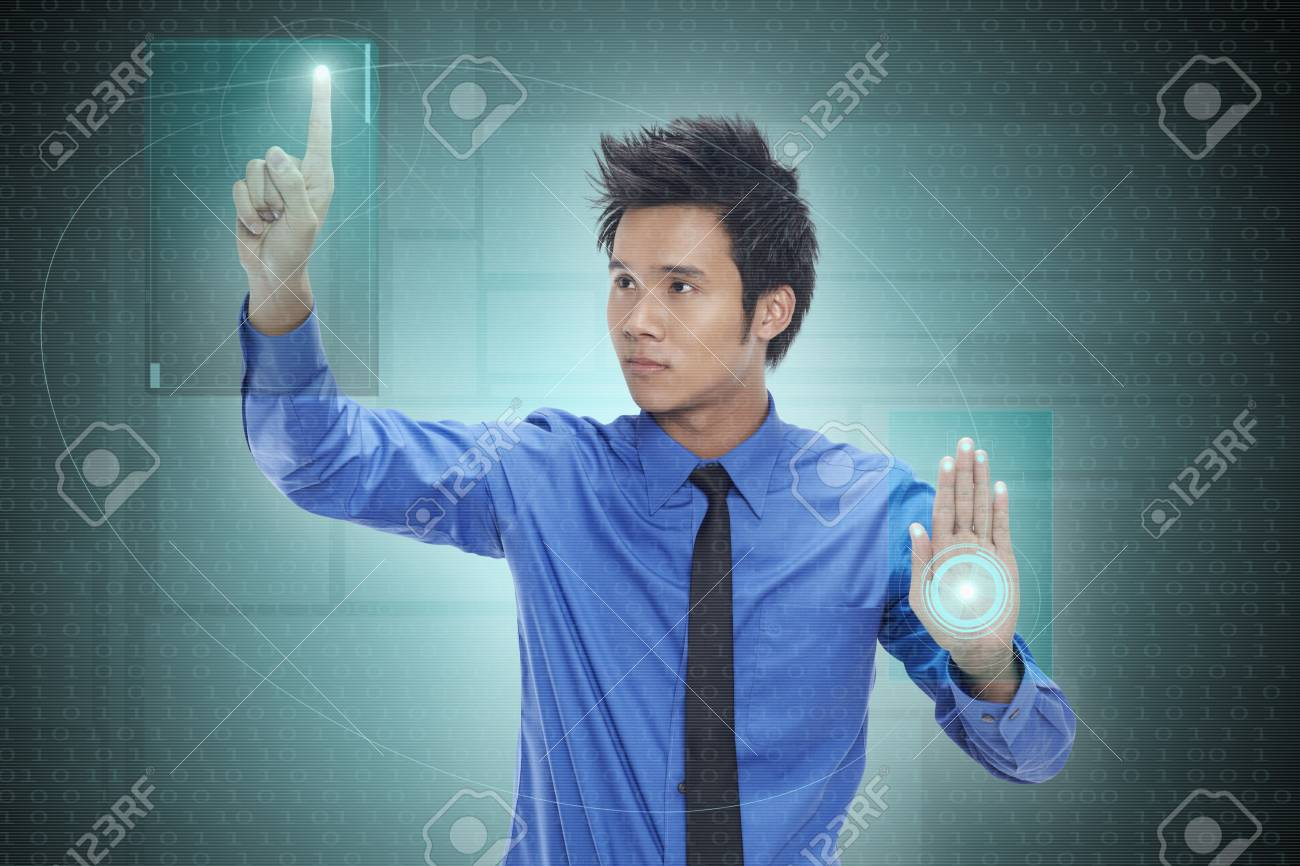 Businessman using digital screen Stock Photo - 17340329