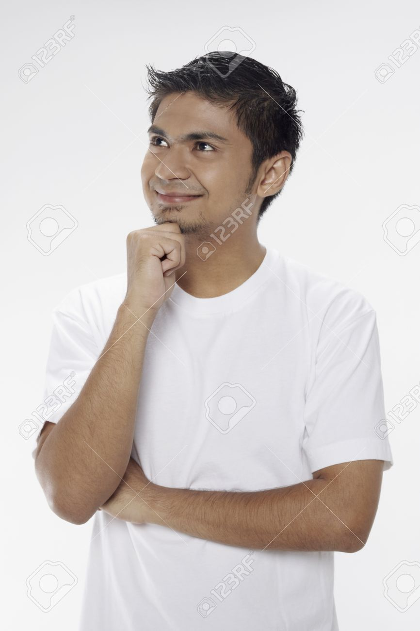 Man Posing With Hand On Chin Stock Photo Picture And Royalty Free