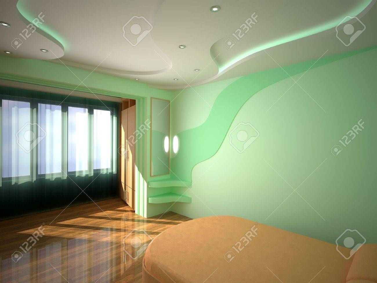 Interior Bedroom 3D Design Light Sun Neon And Spotlights