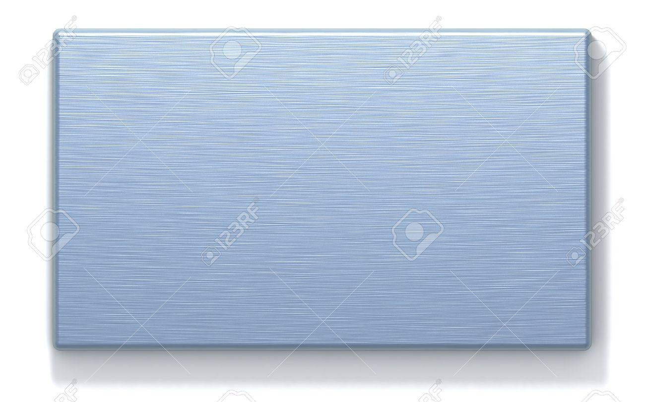 3D rendered metal plate with machined surface. Computer-generated texture, azure color. Isolated element for design. Stock Photo - 883756
