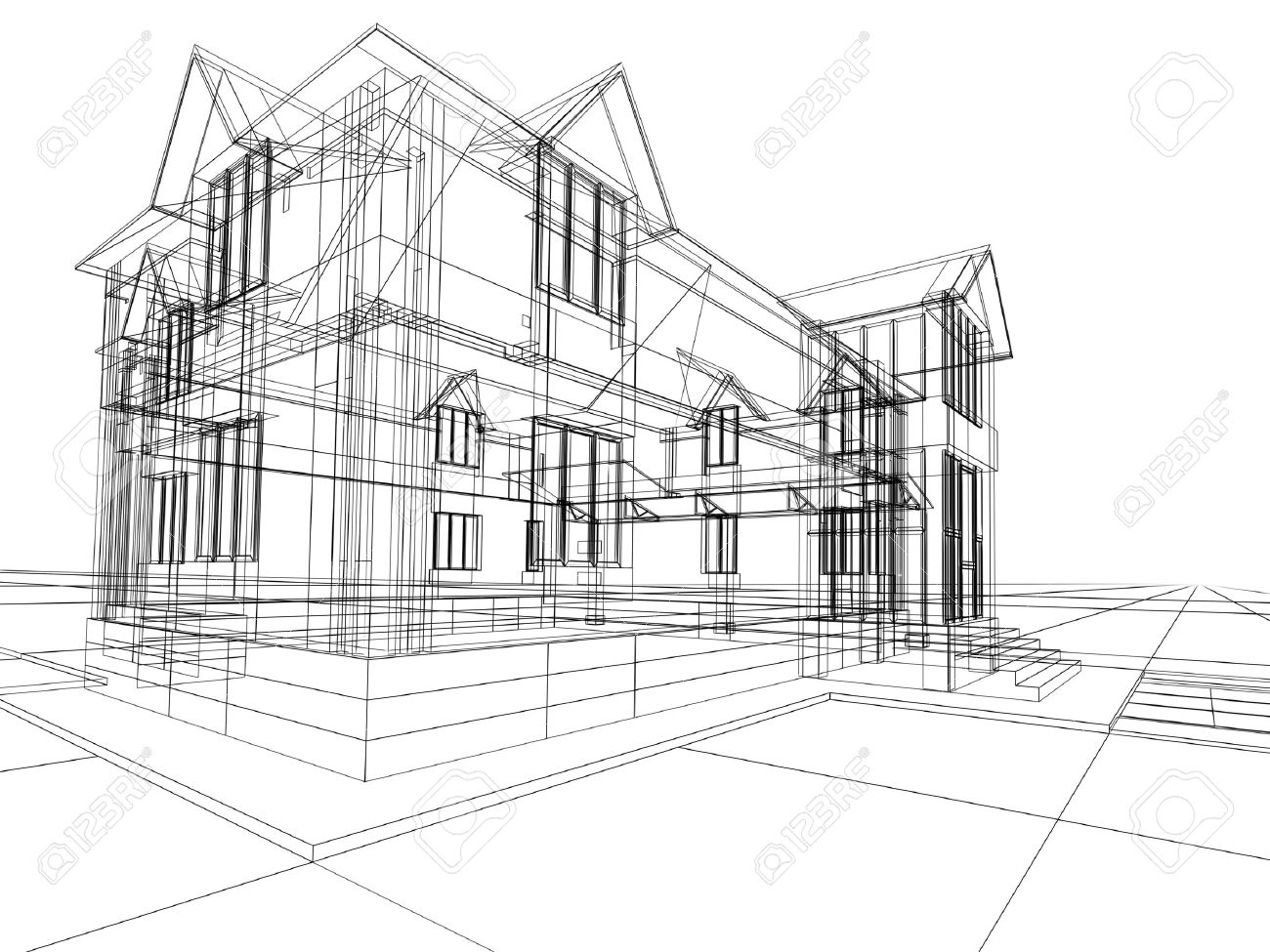 3D rendering wire-frame of house. White background. Stock Photo - 1862157