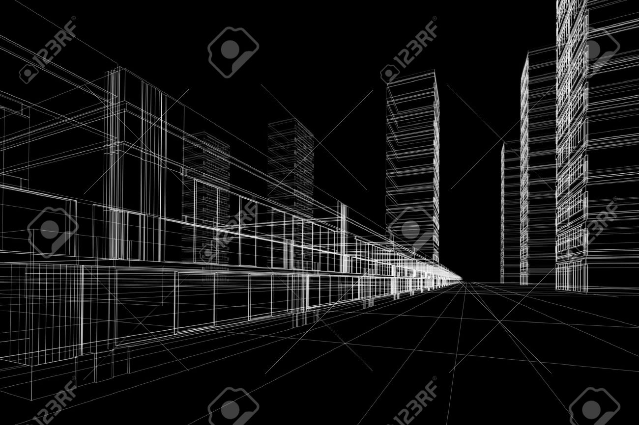 3d Rendering Wireframe Of Office Buildings Black Background Stock Photo Picture And Royalty Free Image Image 2021946