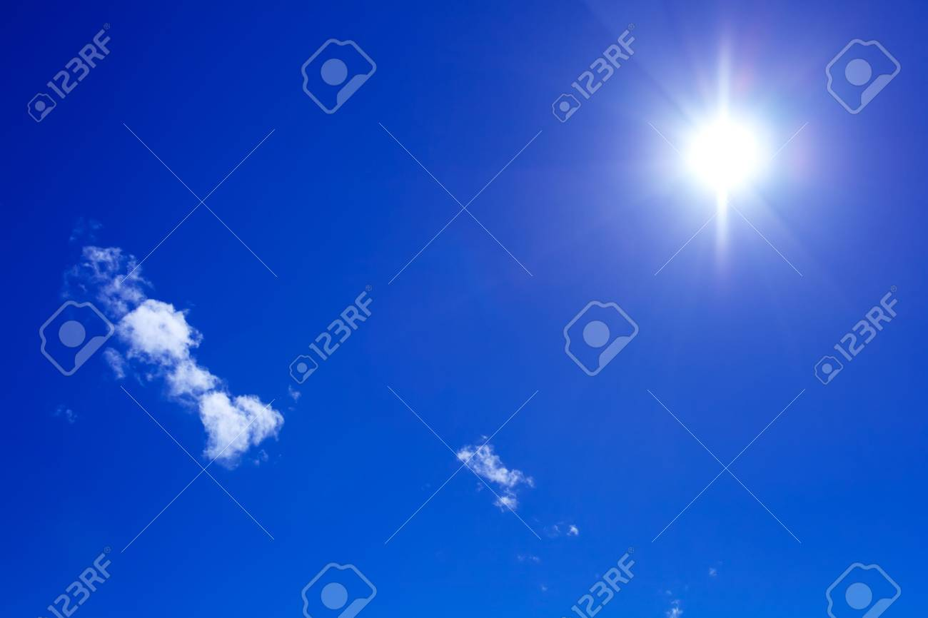 sun and beautiful clouds on blue sky Stock Photo - 2770420