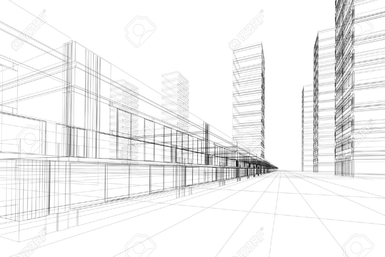 Abstract 3d Construction Of Office Building White Background