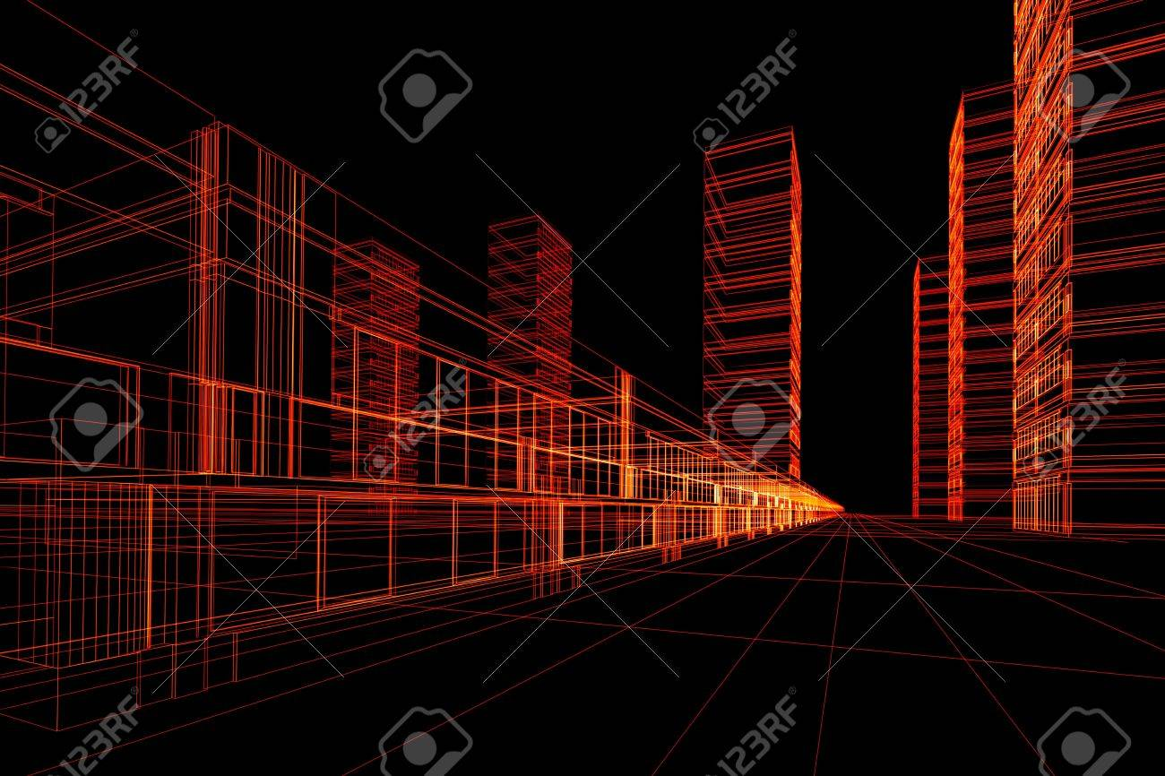 Abstract architectural 3D construction. Concept - modern architecture and designing Stock Photo - 3143162