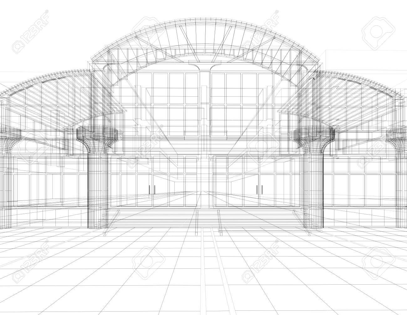 3D sketch of office building Stock Photo - 4312268
