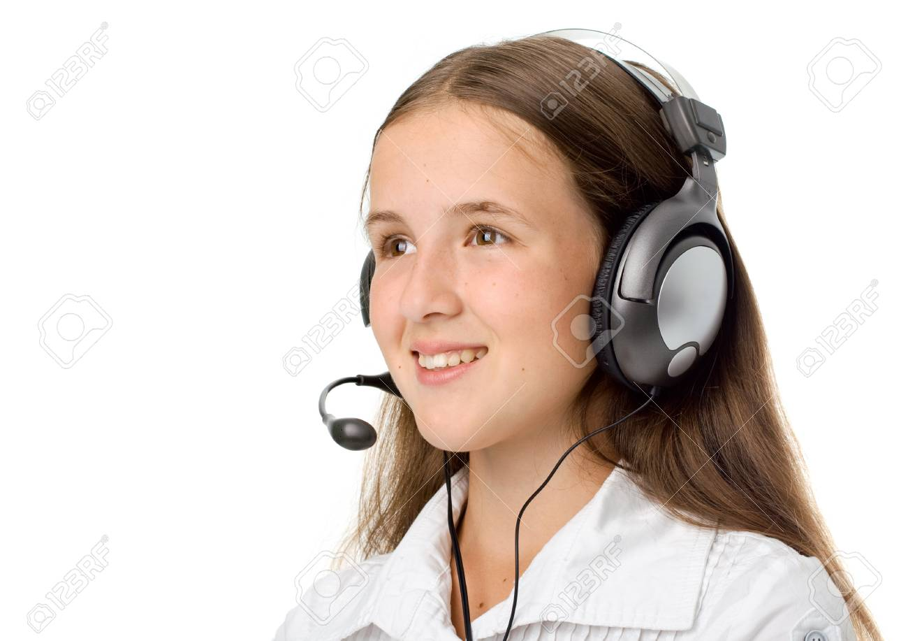 Support phone operator in headset. Isolated on white Stock Photo - 7262923