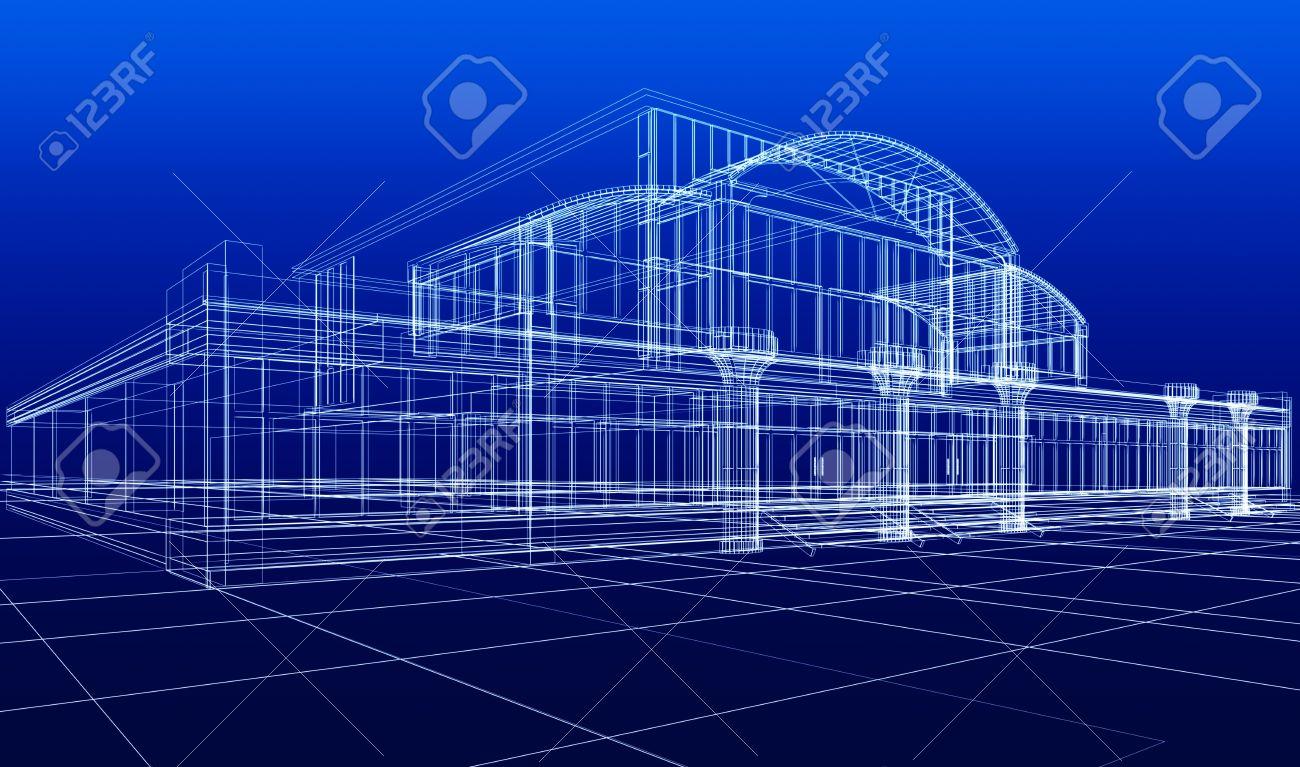 7618476 3d Sketch Of Office Building Stock Photo Blueprint Architecture Construction Office Building Blueprint On Blueprint