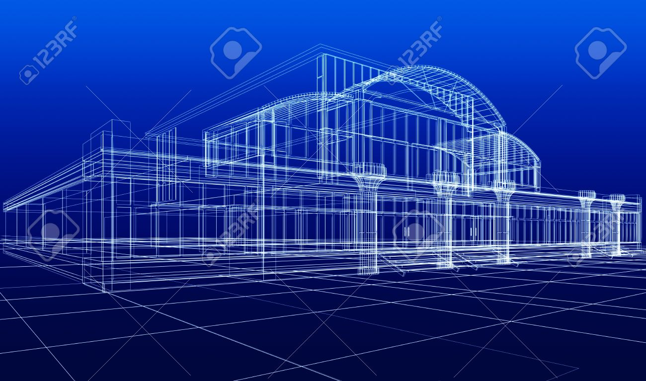 3D sketch of office building Stock Photo - 7618476