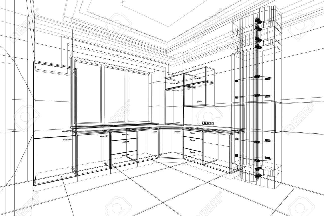 Abstract Sketch Design Interior Of Kitchen Stock Photo   9562720