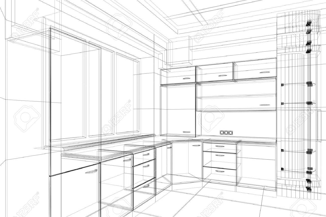 abstract design sketch of kitchen interior stock photo, picture