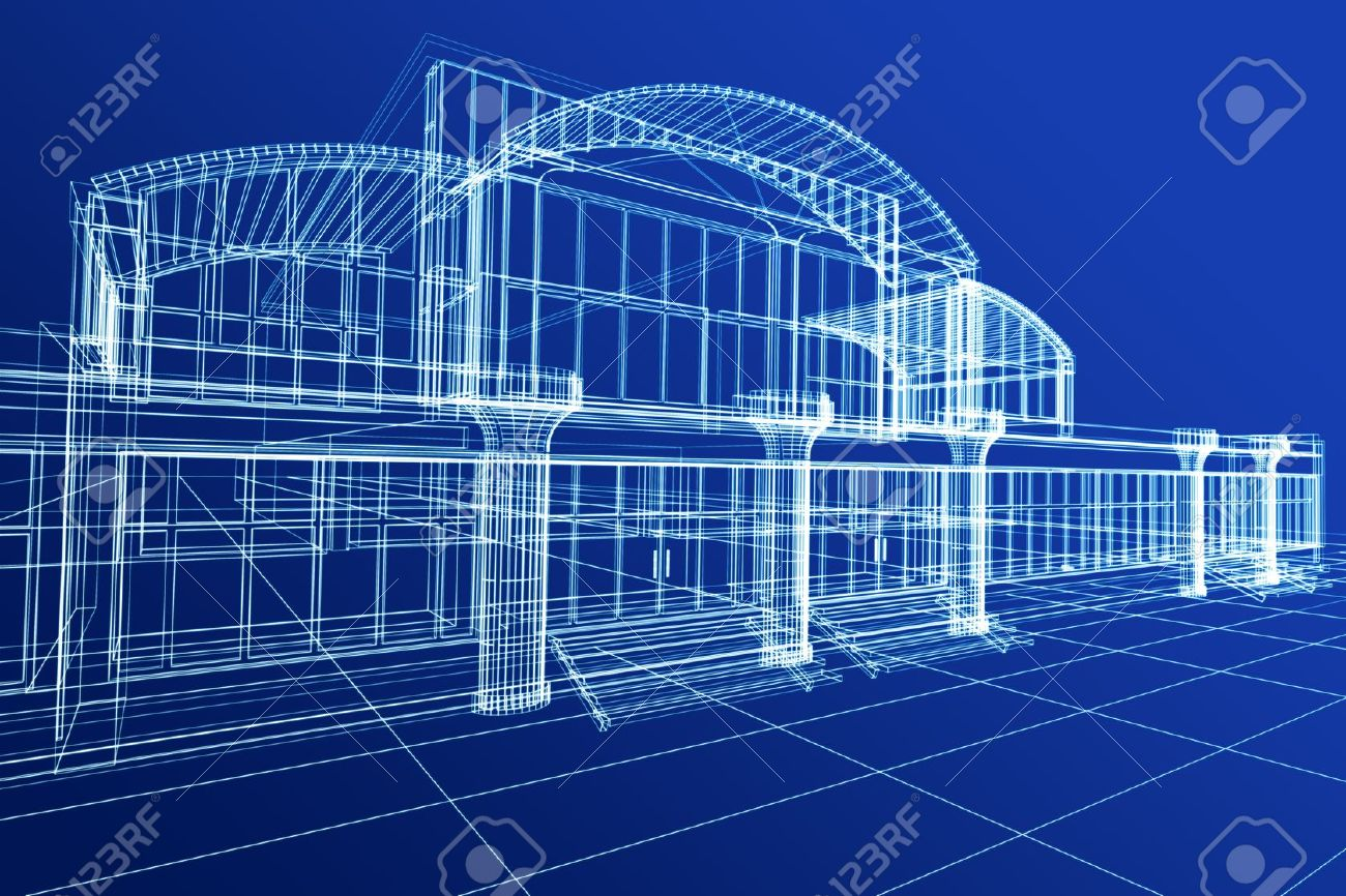 abstract 3d sketch of office building on blue stock photo 9366523 abstract 3d office building