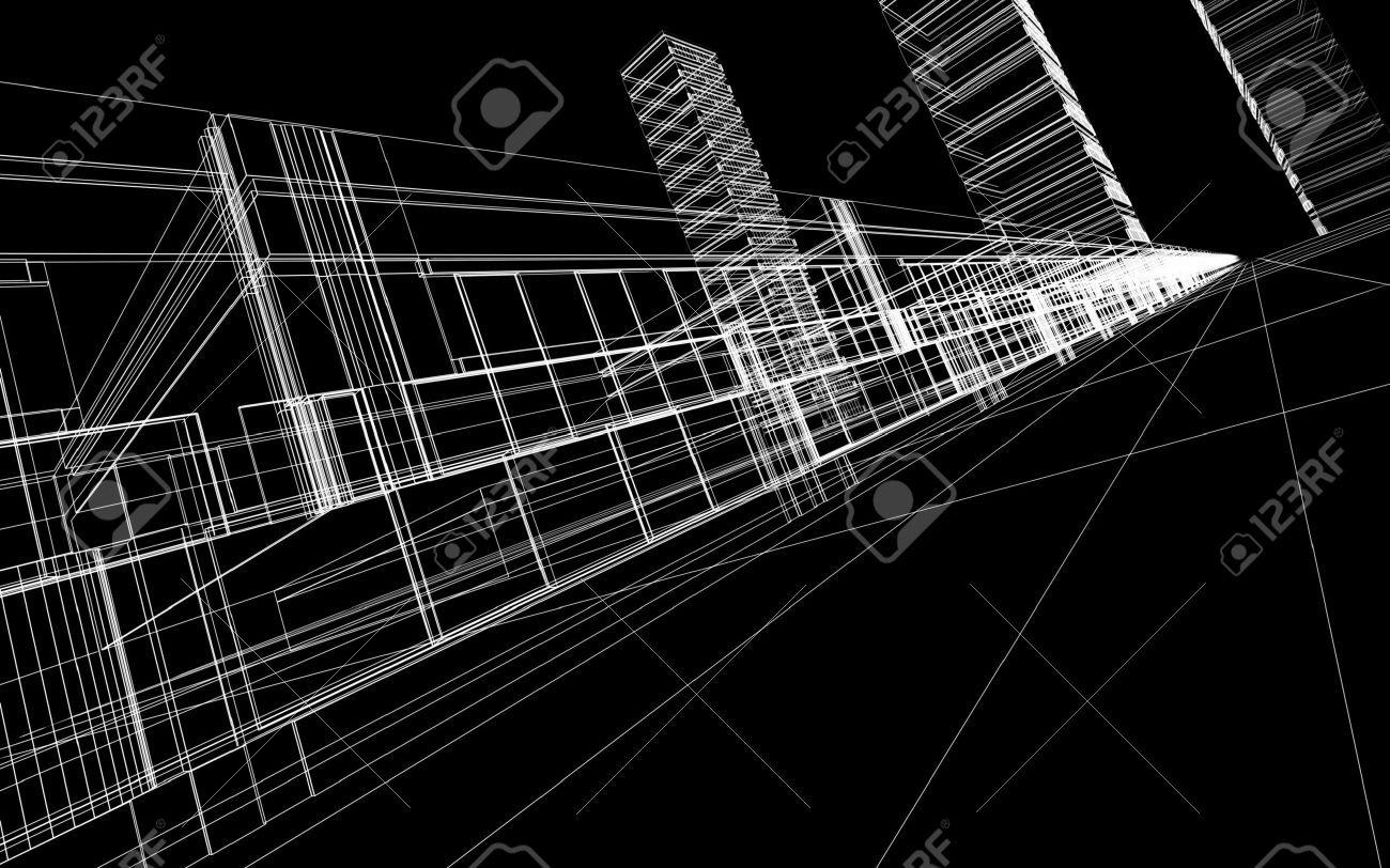 abstract 3d wireframe of office buildings concept modern city architecture and design stock abstract 3d office building