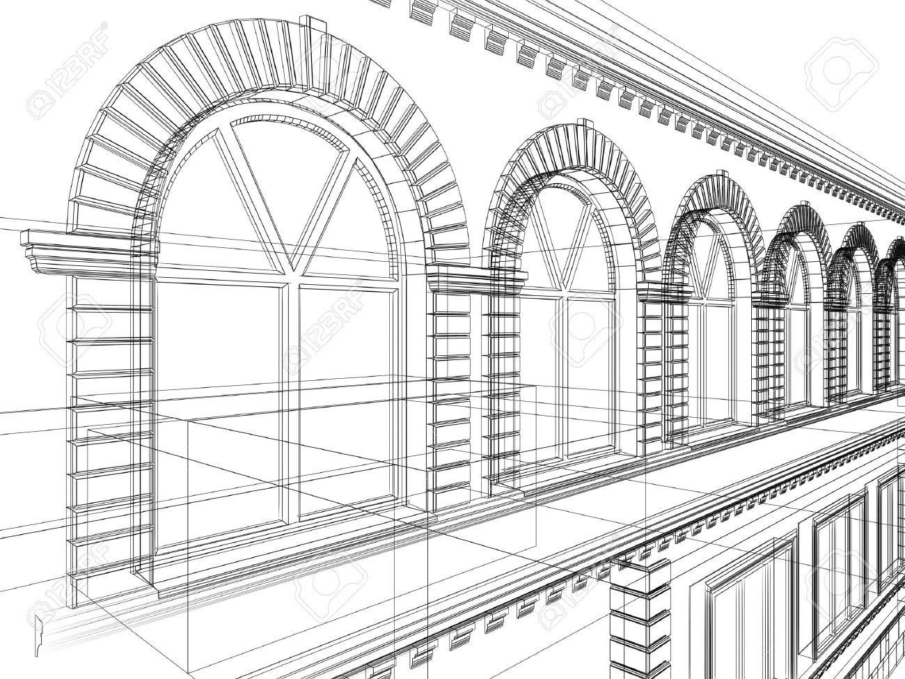 sketch of house architectural 3d illustration stock photo
