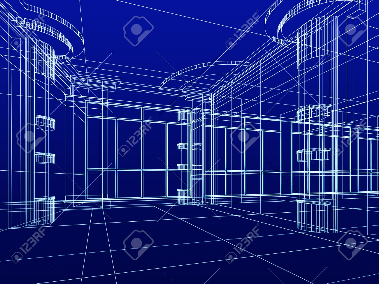 Stock Photo   Abstract Design Sketch Of Modern Office Interior