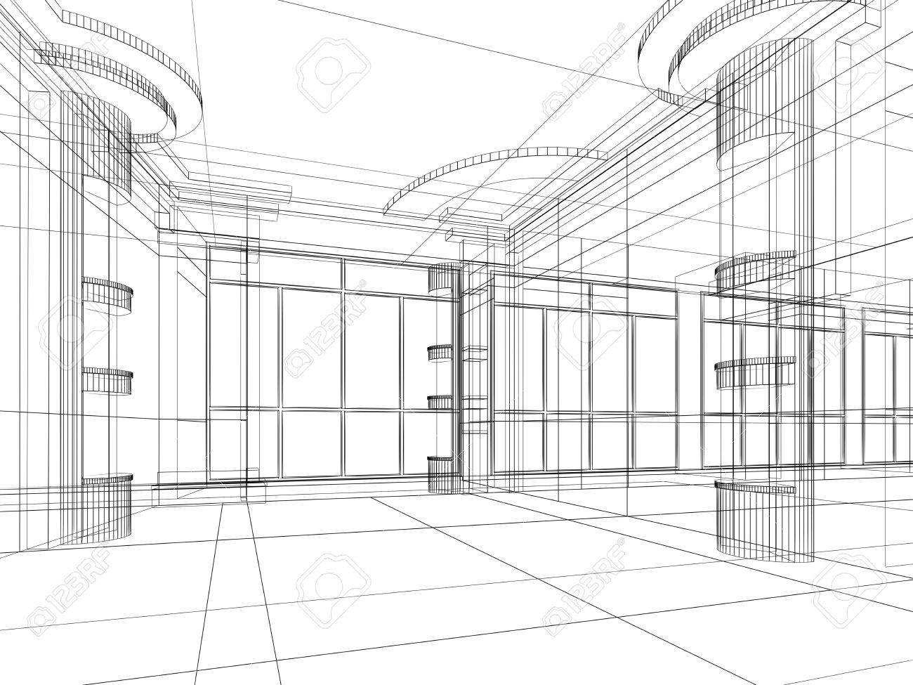 Abstract Design Sketch Of Modern Office Interior Stock Photo