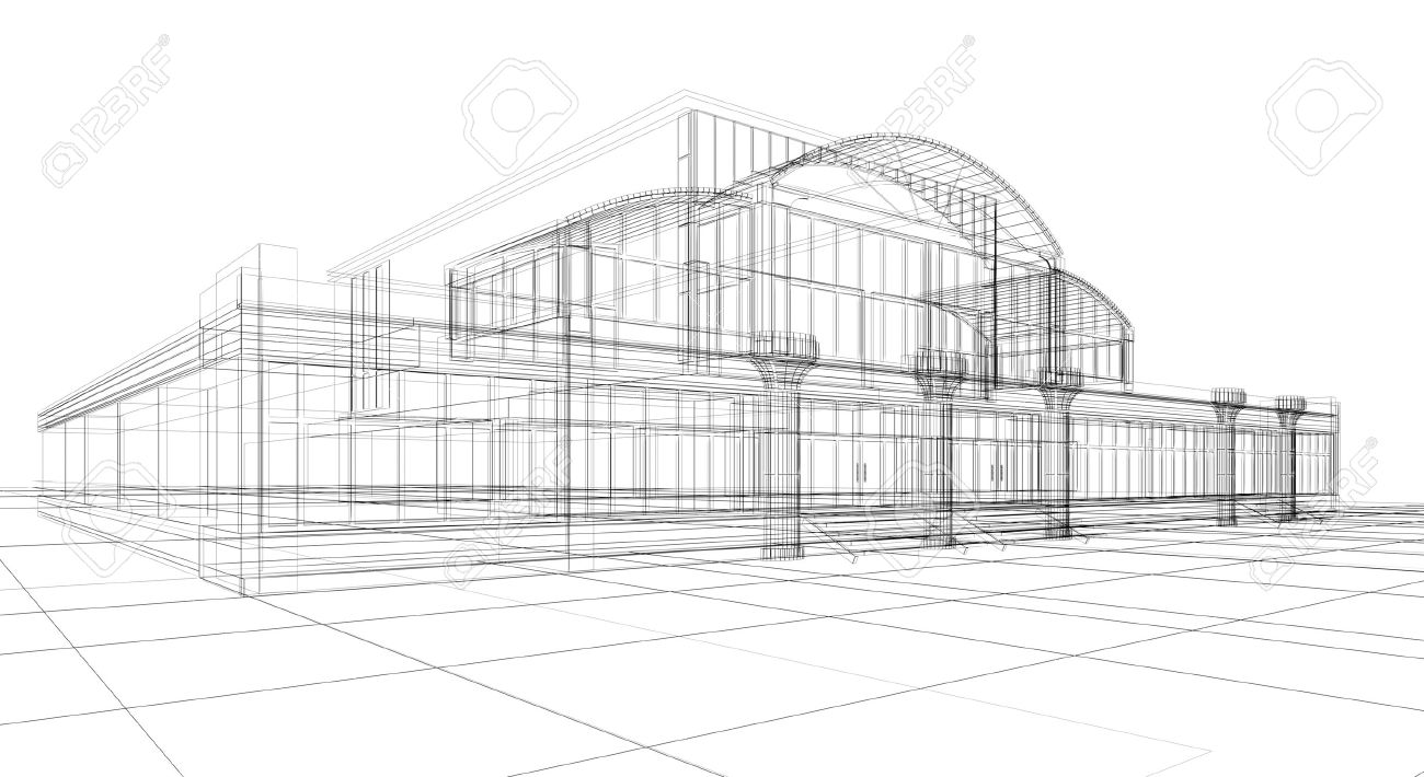 3d sketch of office building stock photo 9542847