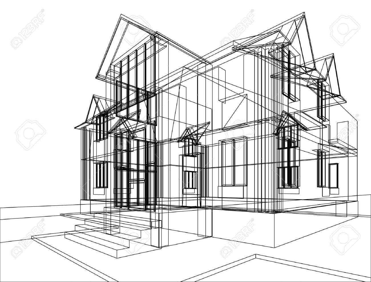 abstract sketch of house illustration of 3d construction stock illustration 9546116 - 3d Drawing Of House