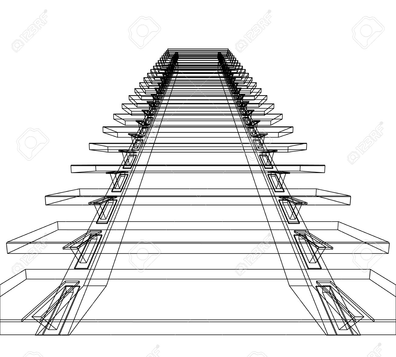 Abstract sketch of stairs. Vector illustration. Stock Illustration - 9562723