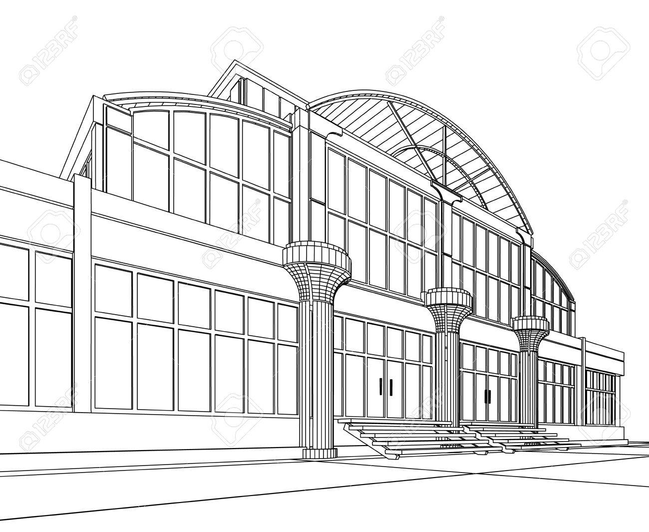 3D architectural abstract office. Concept - modern architecture. Stock Photo - 9562725