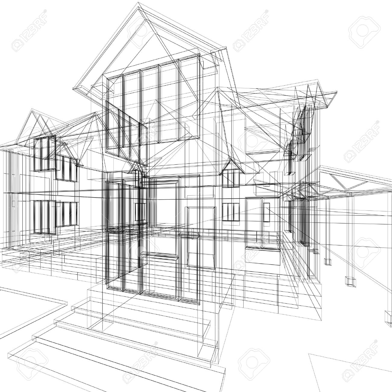Abstract Sketch Of House. 3d Architecture Illustration. Stock Illustration    9919555