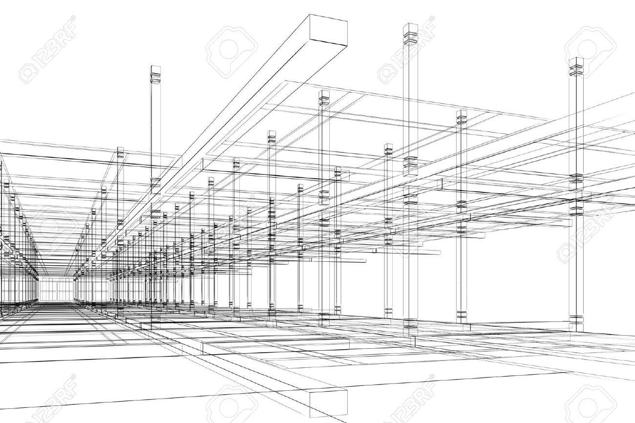 abstract modern office architecture design in 3d wire frame stock photo 10765050 abstract 3d office building