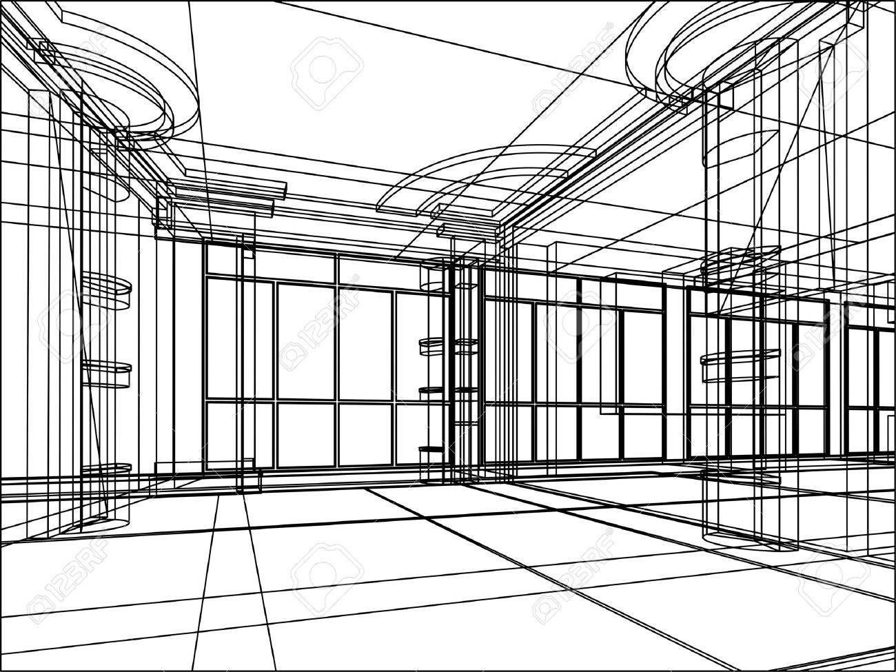 Abstract Design Sketch Of Modern Office Interior Stock Photo 11270241