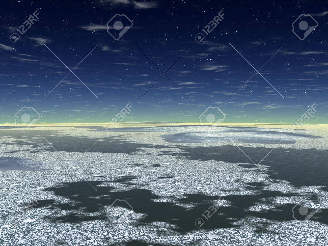 The dark sky. Ocean. Dark water and white ice floes on a surface. Stock Photo - 3857992
