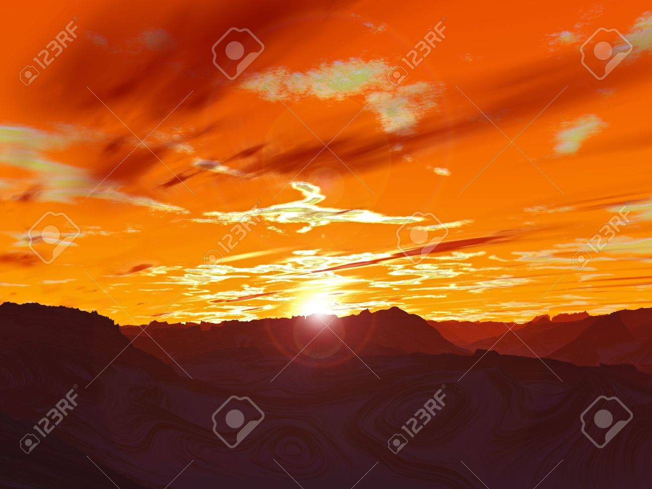 Another galaxy. Abstract red planet. Computer generated. Sunset Stock Photo - 3925480