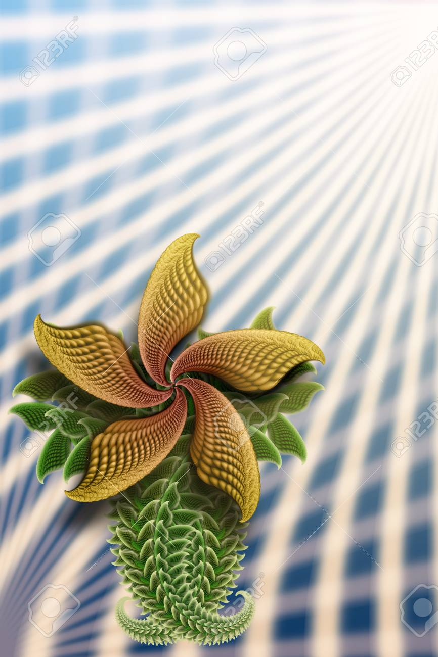 Fractal (with micro detal) flower illustration. Good for card design. Stock Illustration - 4373425