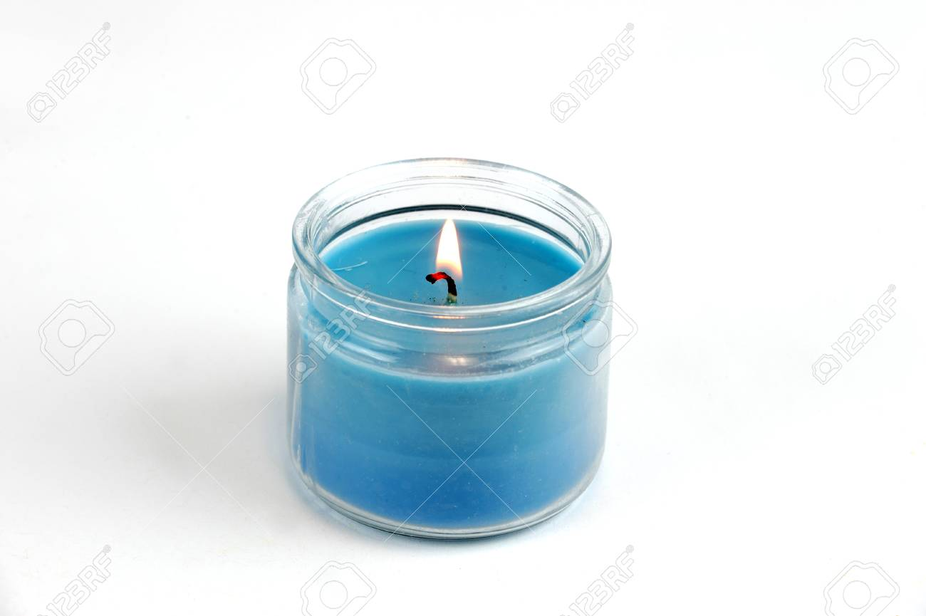 Candle Flame Fire Of Decorative Blue Candle On White Background ... for Blue Candle White Background  155sfw