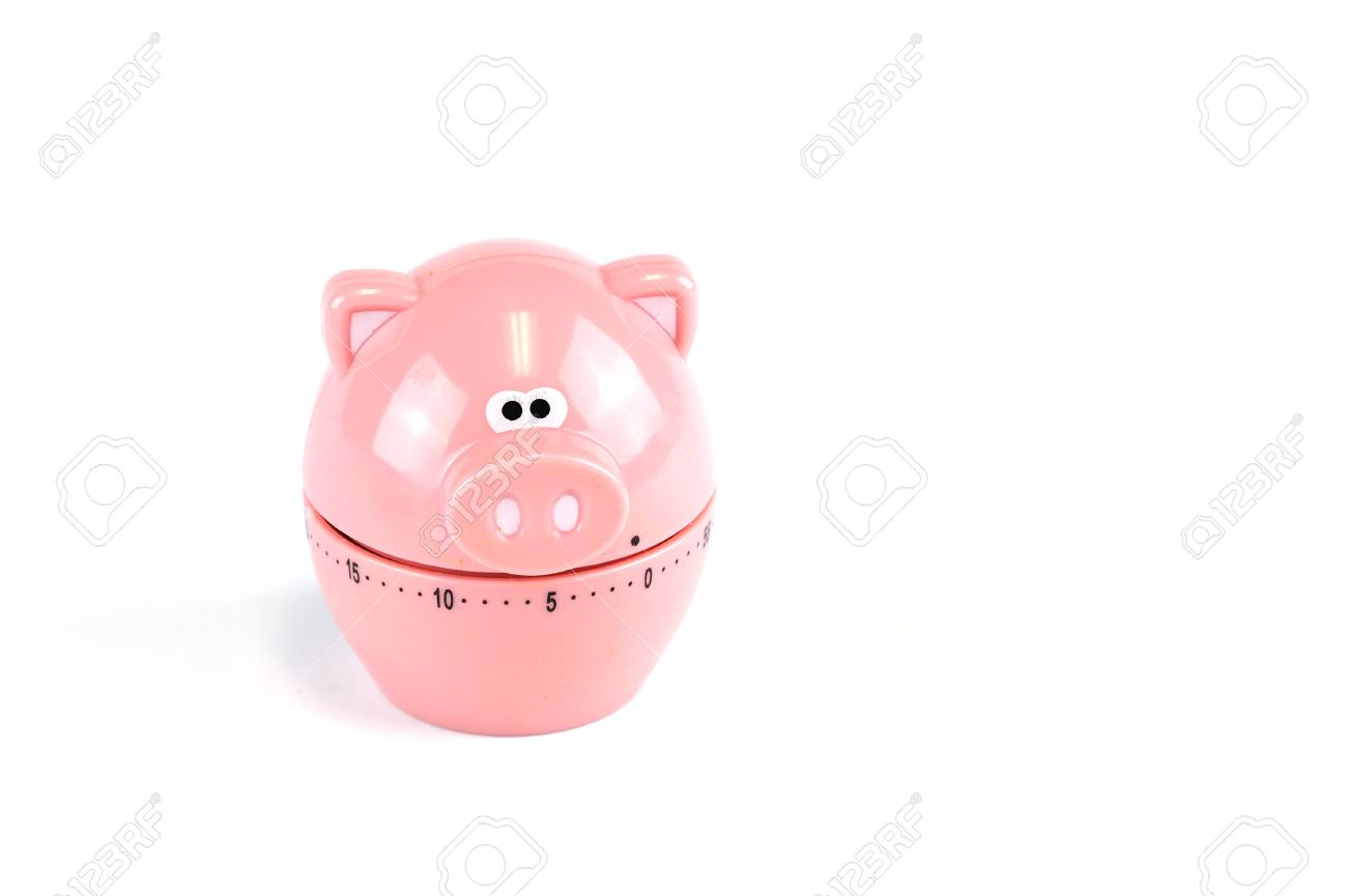 Pig Kitchen Timer Isolated On White Background Stock Photo, Picture ...