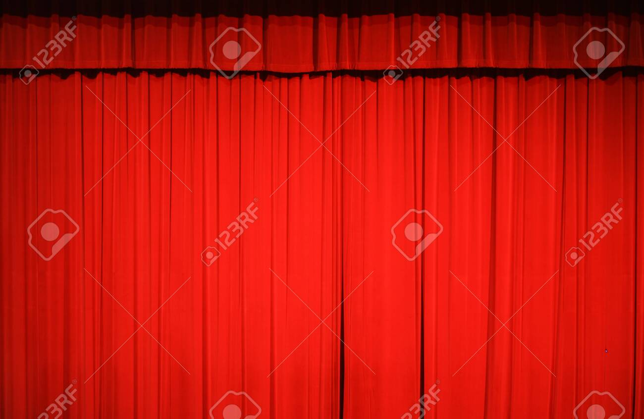 red stage curtain background for design - 148449261