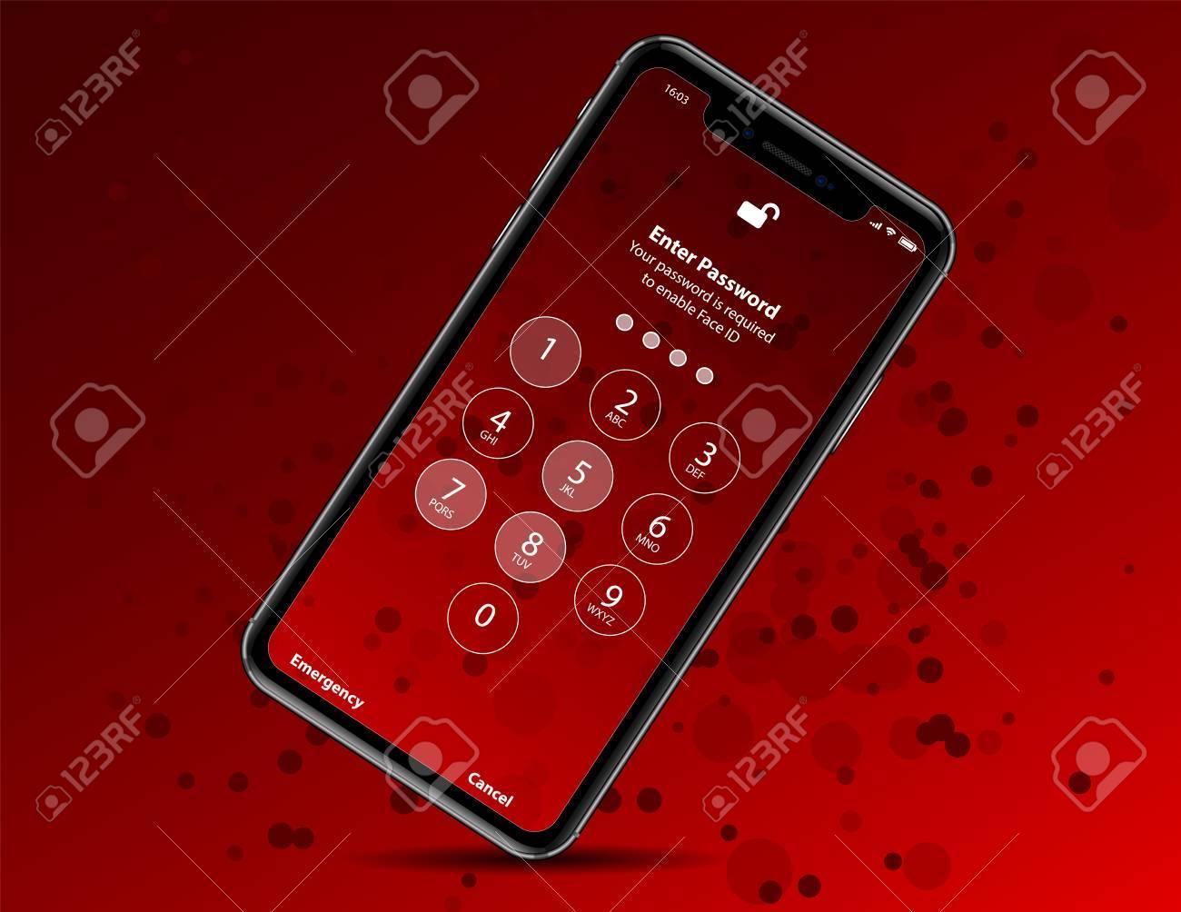 写真素材 , 新しい iphone X 赤 baground で分離されました。ベクトル イラスト。