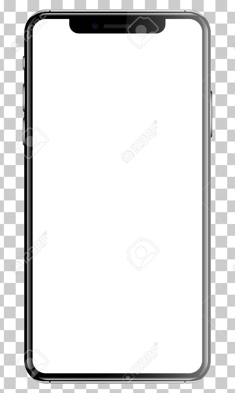 Black smartphone isolated transparency background front back side vector illustration. - 91021028