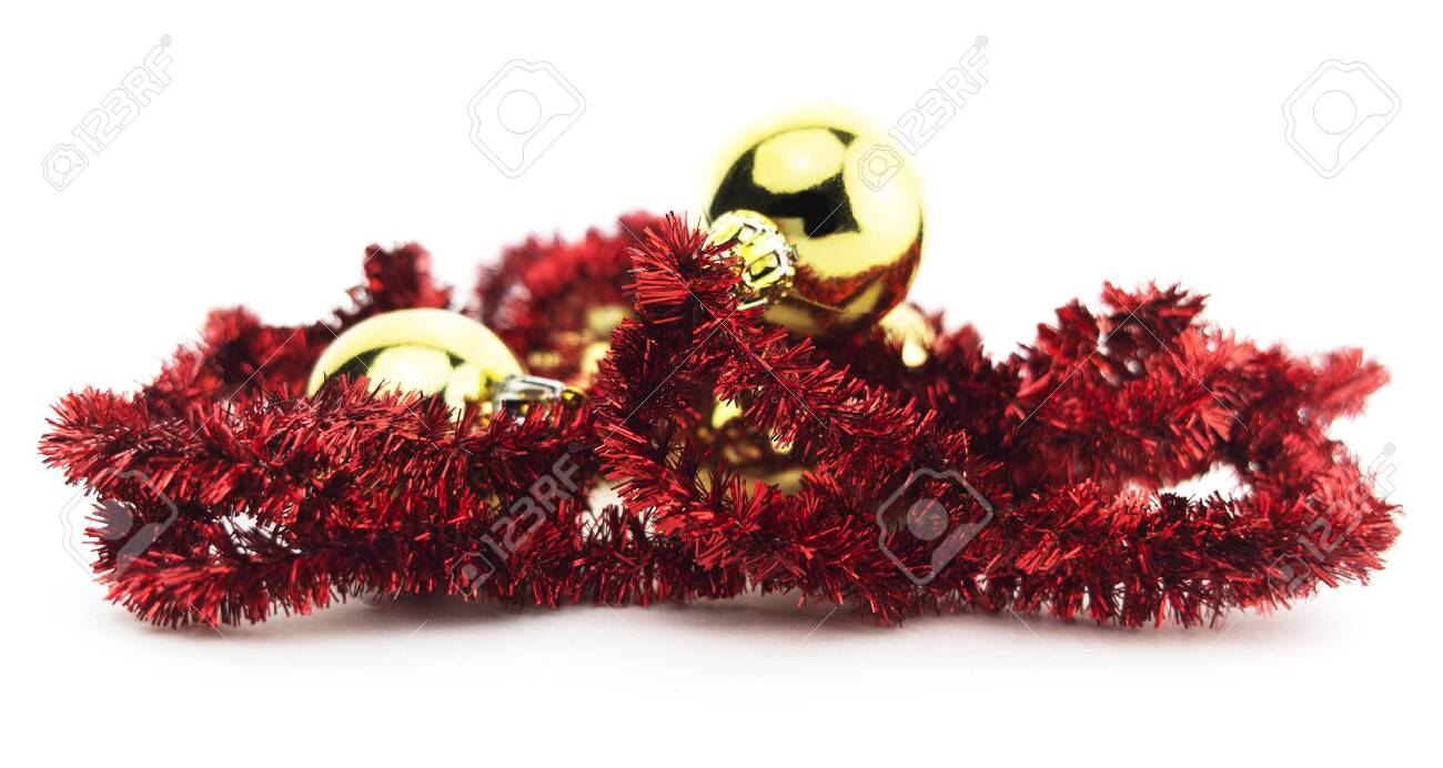 Christmas Tinsel Garland.Isolated Red Holiday Christmas Tinsel Garland Wreath Decoration