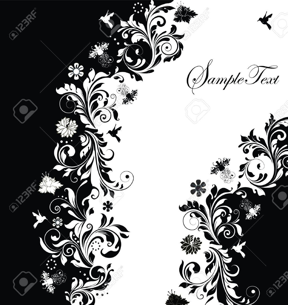 Abstract Black And White Floral Invitation Card Royalty Free – Black and White Invitation Cards