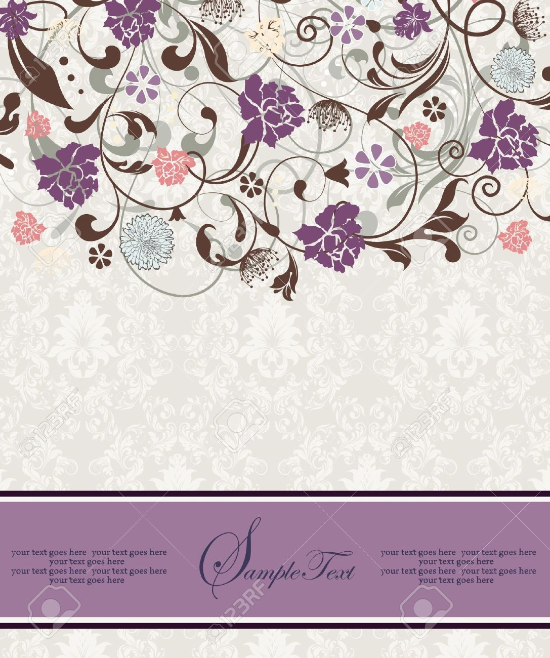 bridal shower invitation with purple flowers royalty free cliparts, Bridal shower invitations